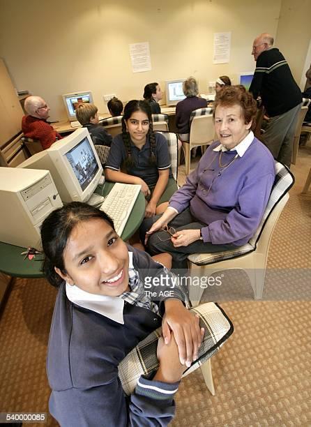Cherry Tree Grove Retirement Village Croydon 8 Grade Six children are teaching 4 elderly residents basic computer skills using programs such as...