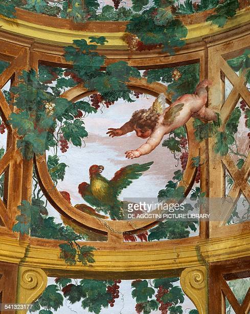 Cherub and parrot detail of a fresco depicting a pergola by Fedele Fischetti Villa Campolieto 17551775 initial design by Mario Gioffredo completed by...