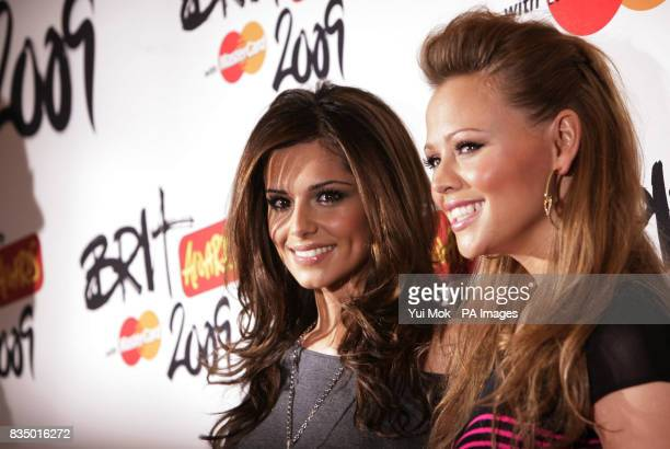 Cheryl and Kimberley from Girls Aloud arriving for the Brit Awards shortlist announcement at the Roundhouse in London