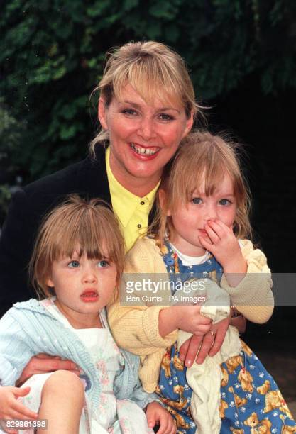 Cheryl Baker BBC presenter and former member of the pop group 'Bucks Fizz' with twins Natalie and Kyla