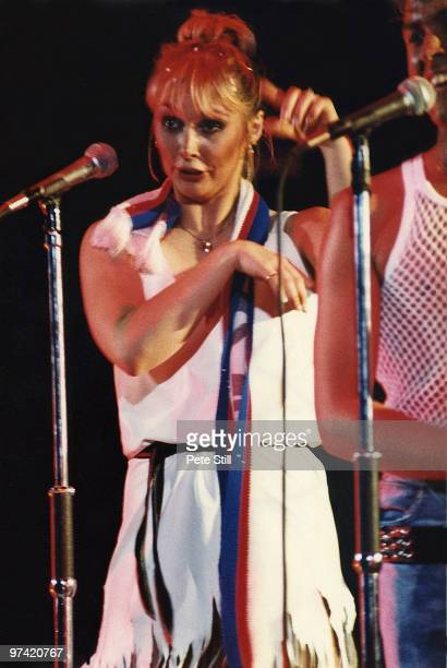 Cheryl Baker of Bucks Fizz performs on stage at Hammersmith Odeon on July 30th 1982 in London England