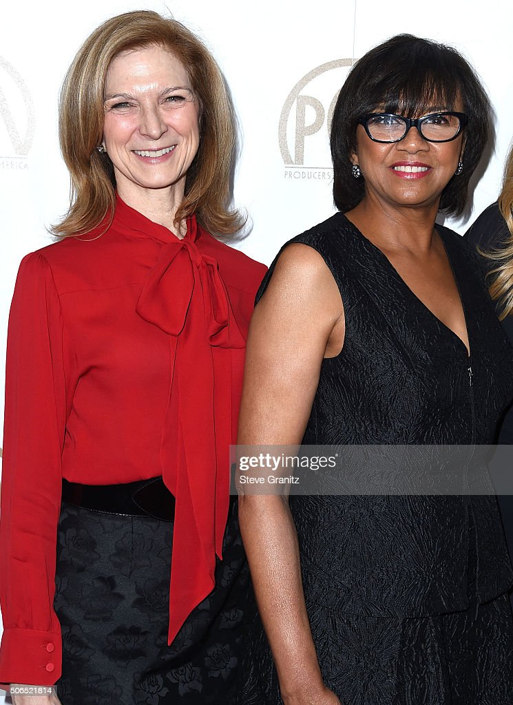 Cheryl Boone Isaacs and Dawn Hudson arrives at the 27th Annual Producers Guild Awards at the Hyatt Regency Century Plaza on January 23 2016 in...