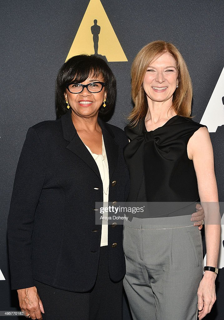Cheryl Boone Isaacs and Dawn Hudson attend the Academy Nicholl Fellowships Screenwriting Awards at Samuel Goldwyn Theater on November 4 2015 in...