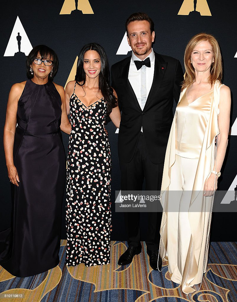 Cheryl Boone Isaacs, Jason Segel, Olivia Munn and Dawn Hudson attend the Academy of Motion Picture Arts and Sciences' Scientific and Technical Awards ceremony at the Beverly Wilshire Four Seasons Hotel on February 13, 2016 in Beverly Hills, California.