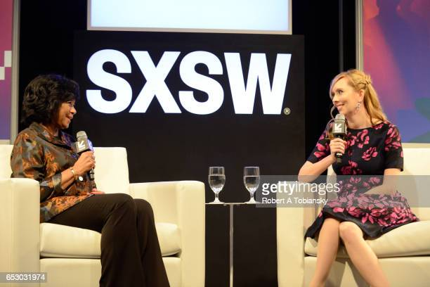 Cheryl Boone Isaacs President of the Academy of Motion Picture Arts and Sciences and writer Allison Schroeder speak onstage at 'A Conversation with...