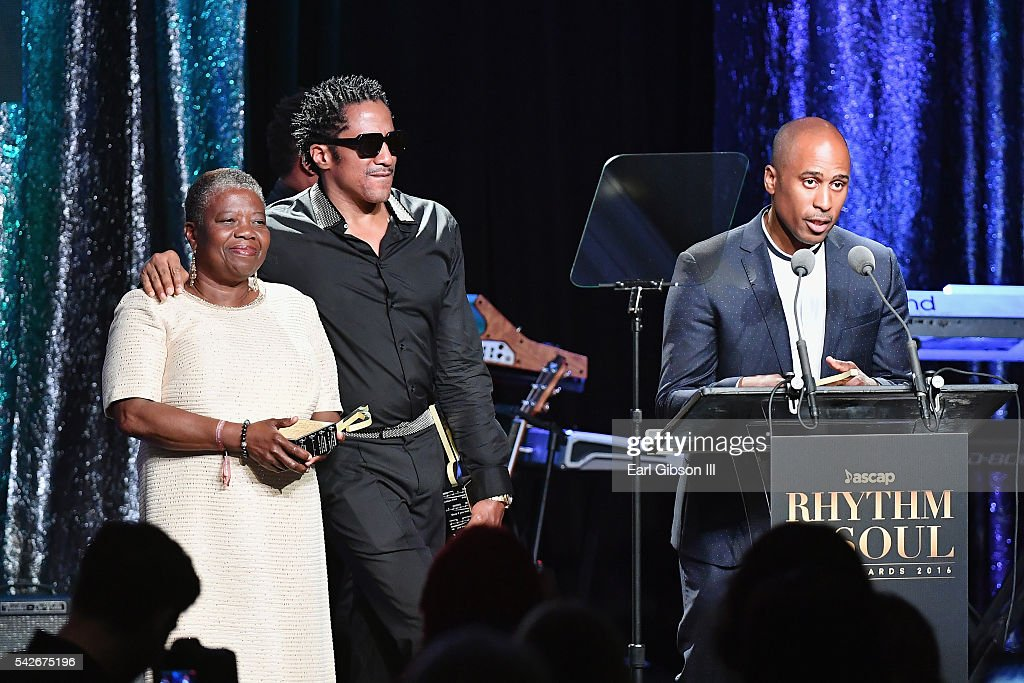 Cheryl BoyceTaylor mother of the late rapper Phife Dawg rapper QTip and rapper Ali Shaheed Muhammad of A Tribe Called Quest accept the ASCAP Golden...