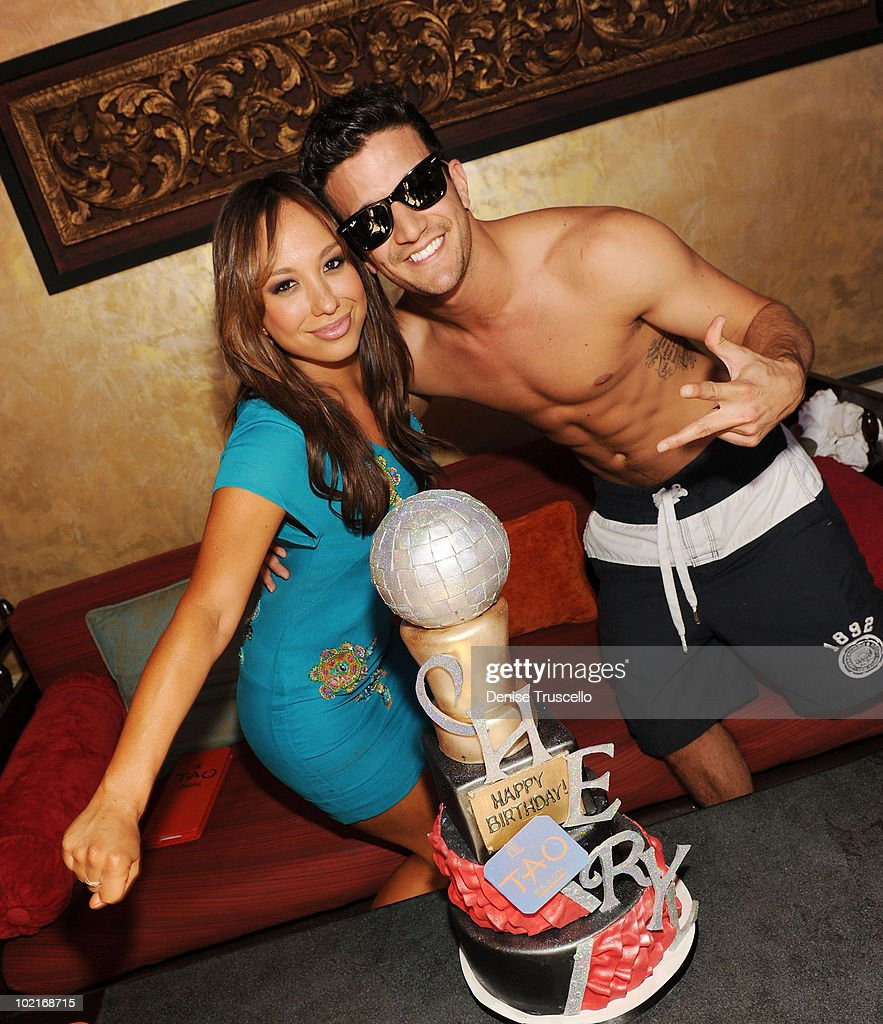 Cheryl Burke and Mark Ballas celebrate Cheryl's birthday at TAO Beach on May 28 2010 in Las Vegas Nevada