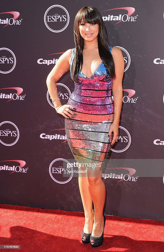 <a gi-track='captionPersonalityLinkClicked' href=/galleries/search?phrase=Cheryl+Burke&family=editorial&specificpeople=540289 ng-click='$event.stopPropagation()'>Cheryl Burke</a> arrives at The 2013 ESPY Awards at Nokia Theatre L.A. Live on July 17, 2013 in Los Angeles, California.