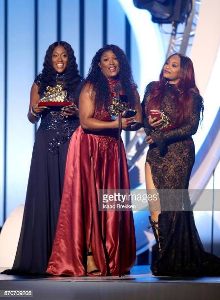 Cheryl 'Coko' Clemons Tamara 'Taj' JohnsonGeorge and Leanne 'Lelee' Lyons of SWV accept the Lady of Soul Award onstage at the 2017 Soul Train Awards...