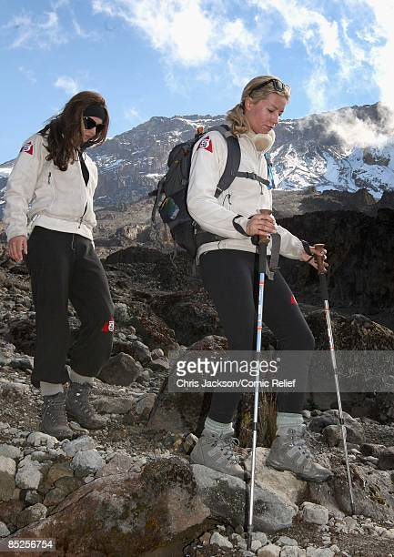 Cheryl Cole and Denise Van Outen trek on the fifth day of The BT Red Nose Climb of Kilimanjaro on March 5 2009 near Arusha Tanzania Celebrities Ronan...