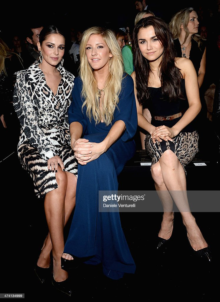 Cheryl Cole, <a gi-track='captionPersonalityLinkClicked' href=/galleries/search?phrase=Ellie+Goulding&family=editorial&specificpeople=6389309 ng-click='$event.stopPropagation()'>Ellie Goulding</a> and <a gi-track='captionPersonalityLinkClicked' href=/galleries/search?phrase=Samantha+Barks&family=editorial&specificpeople=7061893 ng-click='$event.stopPropagation()'>Samantha Barks</a> attend the Roberto Cavalli show as part of Milan Fashion Week Womenswear Autumn/Winter 2014 on February 22, 2014 in Milan, Italy.
