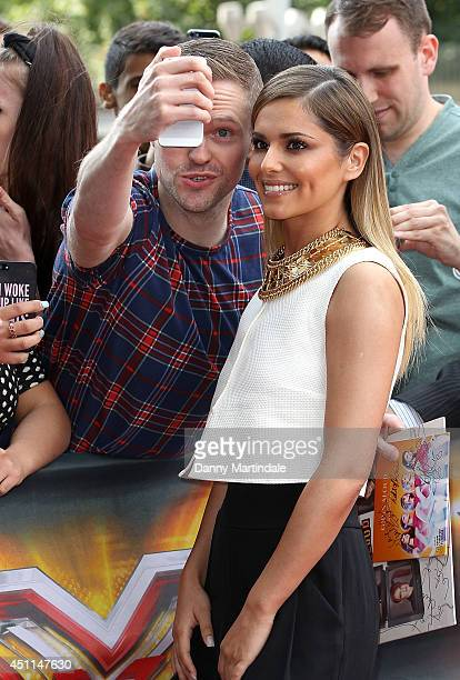 Cheryl Cole meets fans as she arrives for the London Auditions of X Factor at Emirates Stadium on June 24 2014 in London England
