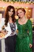 Cheryl Cole poses backstage with Kimberley Walsh at the last night of her run as Fiona in the musical 'Shrek' at The Theatre Royal Drury Lane on May...