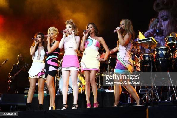 Cheryl COle Sarah Harding Nicola Roberts Nadine Coyle Kimberley Walsh of Girls Aloud perform at Wembley Stadium as part of Coldplays Viva La Vida...