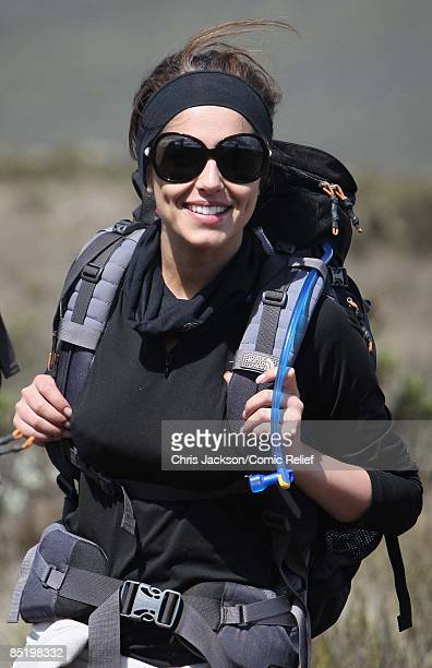 Cheryl Cole smiles as she treks on the second day of The BT Red Nose Climb of Kilimanjaro on March 3 2009 in Arusha Tanzania Celebrities Ronan...