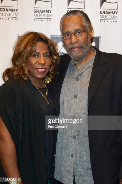 Cheryl Davis and Bennie Maupin pose together at the GRAMMY Museum Honors The 40th Anniversary Of Miles Davis' 'Bitches Brew' on September 2 2010 in...