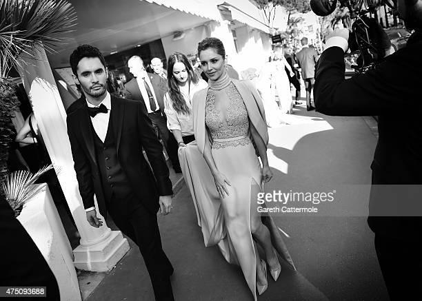 Cheryl FernandezVersini and JeanBernard FernandezVersini depart the Martinez Hotel during the 68th annual Cannes Film Festival on May 15 2015 in...