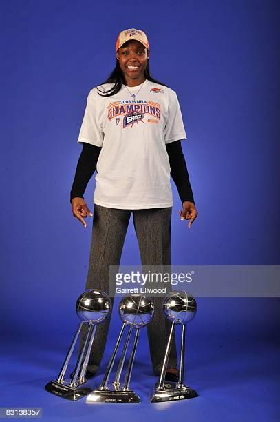 Cheryl Ford of the Detroit Shock poses for a portrait after winning Game Three of the WNBA Finals against the San Antonio Silver Star on October 5...