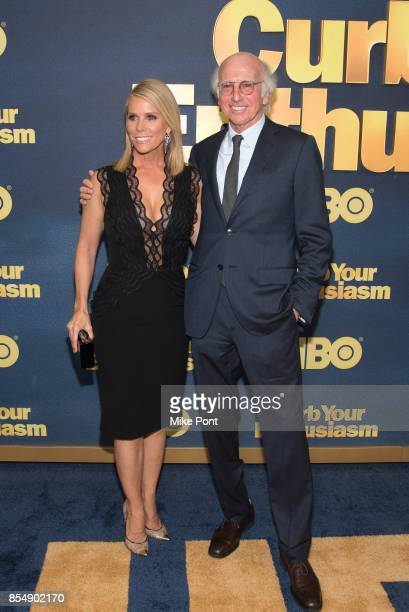 Cheryl Hines and Larry David attend the 'Curb Your Enthusiasm' Season 9 Premiere at SVA Theater on September 27 2017 in New York City