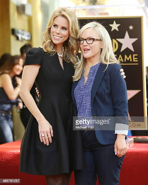 Cheryl Hines and Rachael Harris attend the ceremony honoring Cheryl Hines with a Star on The Hollywood Walk of Fame held on January 29 2014 in...