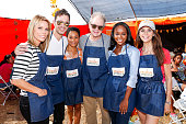 Cheryl Hines Andy Grammer Kelly McCreary Jeff Perry Aja Naomi King and Samantha Harris volunteer at the Feeding America Holiday Harvest event at...