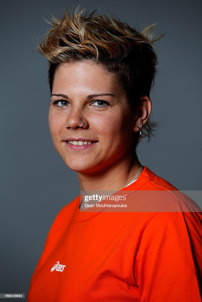 Cheryl Maas, poses during the NOC*NSF (Nederlands Olympisch Comite * Nederlandse Sport Federatie) Sochi athletes and officials photo shoot for Asics at the Spoorwegmuseum on May 4, 2013 in Utrecht, Netherlands.