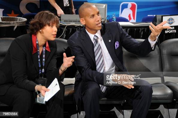 Cheryl Miller and Reggie Miller of TNT talk prior to NBA AllStar Saturday Night part of 2008 NBA AllStar Weekend at the New Orleans Arena on February...