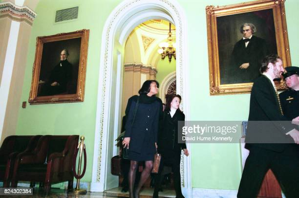 Cheryl Mills and Nicole Seligman members of Bill Clinton's legal defense team arrive at the US Senate for the President's Impeachment Trial on...