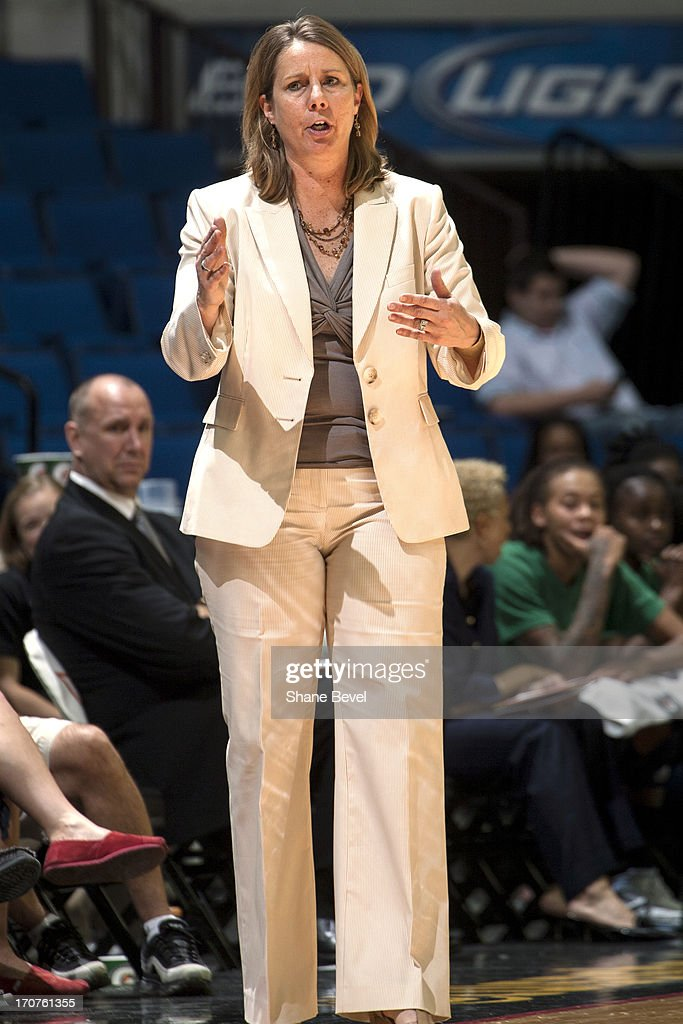 Cheryl Reeve head coach of the Minnesota Lynx calls a play from the bench against the Tulsa Shock during the WNBA game on June 14, 2013 at the BOK Center in Tulsa, Oklahoma.
