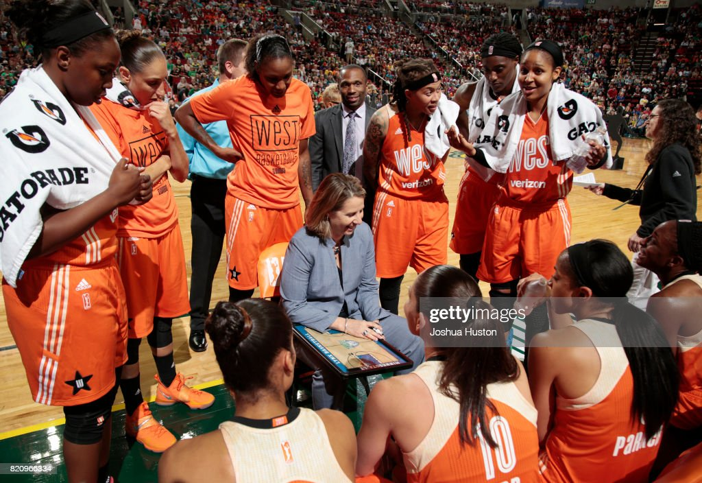 Cheryl Reeve head coach of the Western Conference All-Stars laughs as she huddles with her team in the first half during the Verizon WNBA All-Star Game 2017 at KeyArena on July 22, 2017 in Seattle, Washington. NOTE