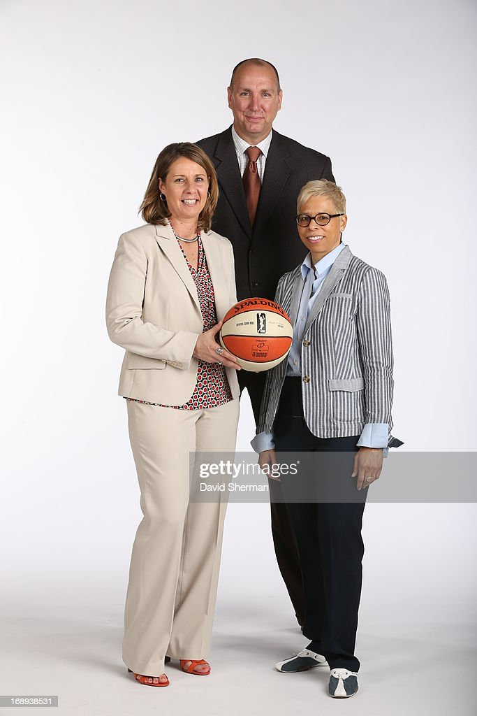 Cheryl Reeve, Jim Petersen and Shelley Patterson of the Minnesota Lynx pose for portraits during 2013 Media Day on May 16, 2013 at the Minnesota Timberwolves and Lynx LifeTime Fitness Training Center at Target Center in Minneapolis, Minnesota.