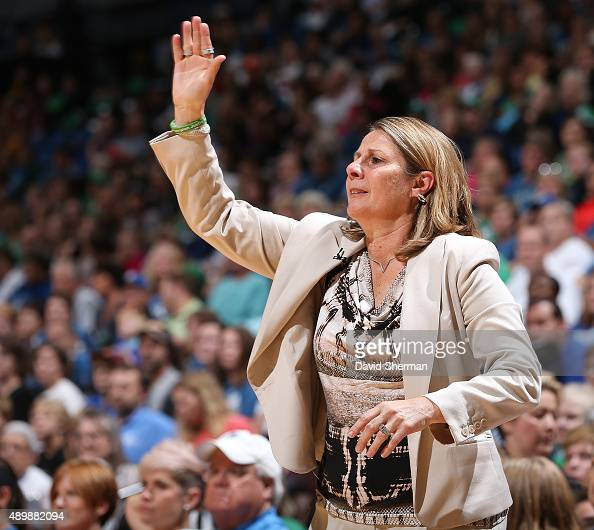 Cheryl Reeve of the Minnesota Lynx coaches against the Phoenix Mercury against the Minnesota Lynx during Game One of the WNBA Western Conference...