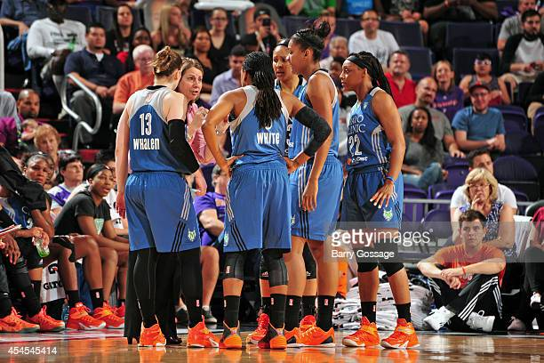 Cheryl Reeve of the Minnesota Lynx speaks with her players during the game against the Phoenix Mercury in Game 3 of the 2014 WNBA Western Conference...