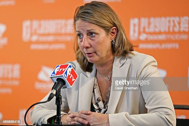 Cheryl Reeve of the Minnesota Lynx talks to the media after Game One of the WNBA Western Conference Finals against the Phoenix Mercury on September...