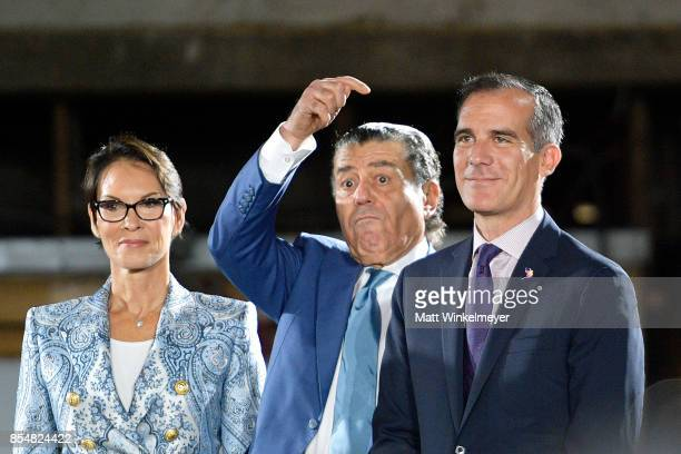 Cheryl Saban Haim Saban and Mayor of Los Angeles Eric Garcetti attend the Academy Museum of Motion Pictures press briefing and site tour at Academy...