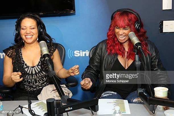 Cheryl 'Salt' James and Sandra 'Pepa' Denton of SaltNPepa visit 'My Favorite Song with John Benjamin Hickey' on Radio Andy at SiriusXM Studios to...