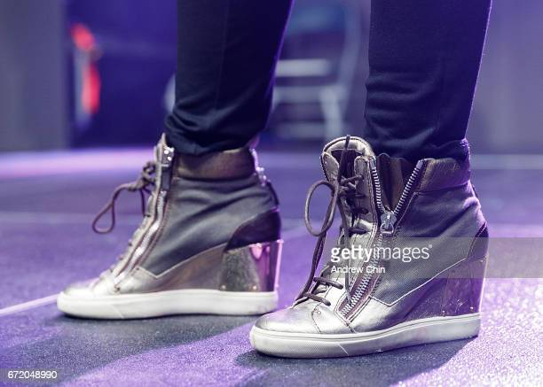 Cheryl 'Salt' James of Hiphop Trio SaltNPepa shoe detail performs on stage during the 'I Love The 90's Tour' at Abbotsford Centre on April 22 2017 in...