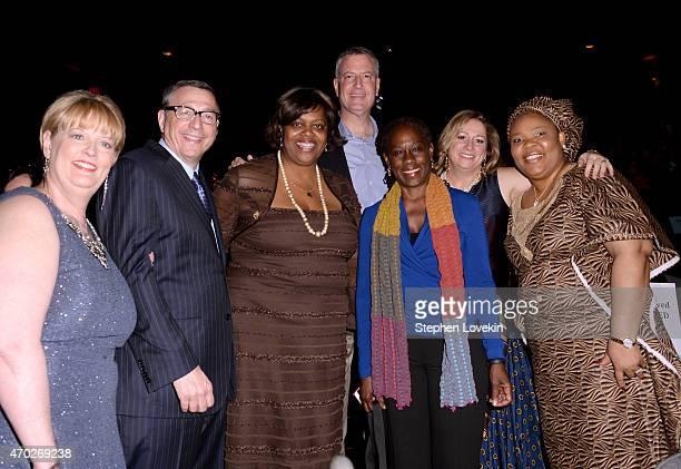 Cheryl Schenck Rob Schenck Suzan Johnson Cook Mayor Bill de Blasio Chirlane McCray Abigail Disney and Leymah Gbowee attend the premiere of 'The Armor...