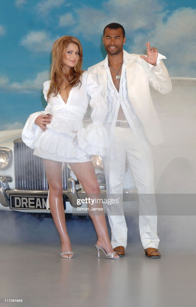 Cheryl Tweedy and Ashley Cole during Cheryl Tweedy and Ashley Cole Lottery Photocall at Jasmine Studios in London Great Britain