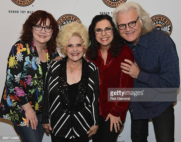 Cheryl White Sharon White of The Whites Country and Rock N Roll Hall of Fame member Brenda Lee and Ricky Skaggs backstage at The Country Music Hall...
