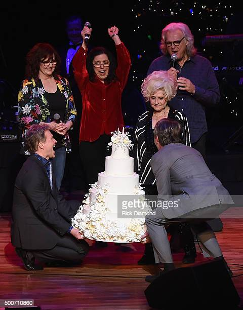 Cheryl White Sharon White of The Whites with Ricky Skaggs sing Happy Birthday to Country and Rock N Roll Hall of Fame member Brenda Lee during her...