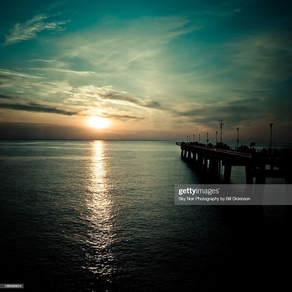 Chesapeake bay along side of fishing pier
