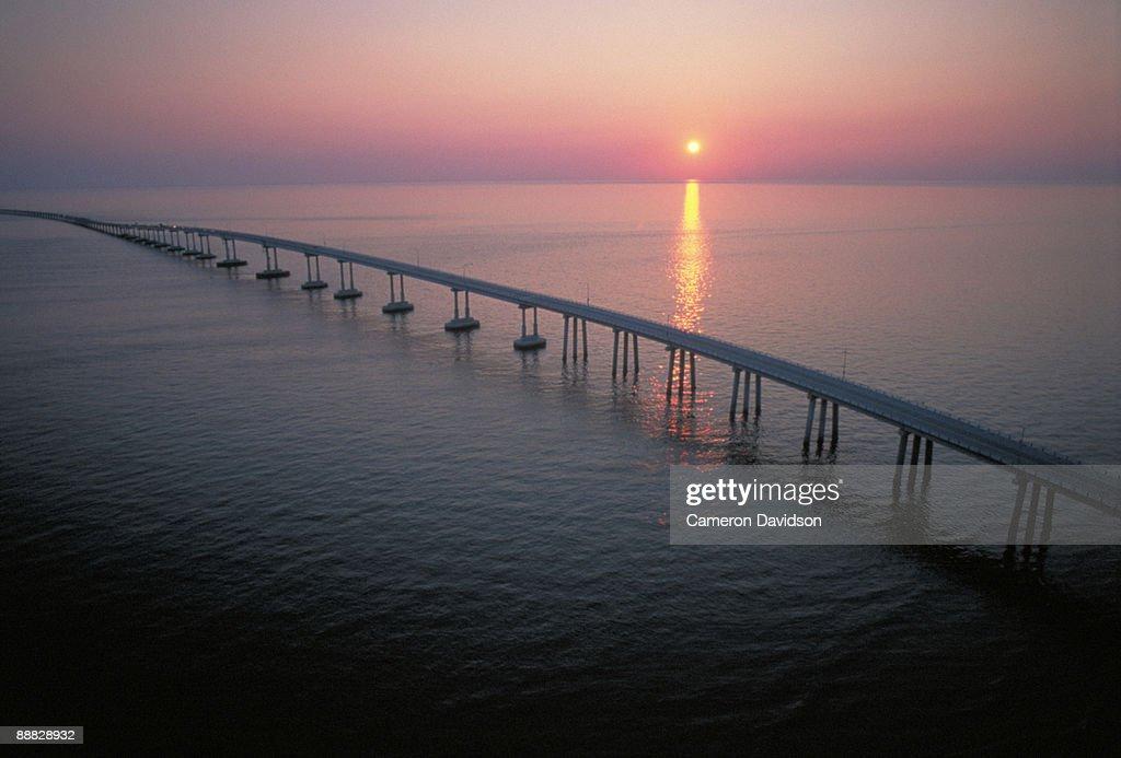Chesapeake Bay Bridge Tunnel at sunset , Virginia