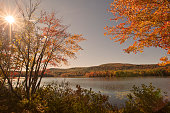 An autumn view of Cheshire Lake in the Berkshire Mountains of Western Massachusetts.