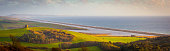 Voted the third best view in Britain, this image shows the stunning panorama of Chesil Beach, St Catherines Chapel, Fleet Lagoon, all the way along the Jurassic coast to Portland Bill.