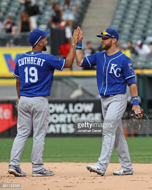 Cheslor Cuthbert and Alex Gordon of the Kansas City Royals celebrate a win over the Chicago White Sox at Guaranteed Rate Field on August 13 2017 in...