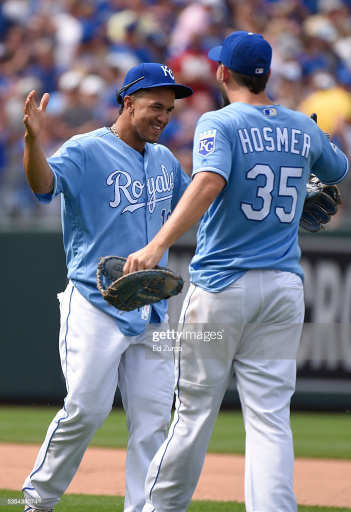 <a gi-track='captionPersonalityLinkClicked' href=/galleries/search?phrase=Cheslor+Cuthbert&family=editorial&specificpeople=9989117 ng-click='$event.stopPropagation()'>Cheslor Cuthbert</a> #19 and <a gi-track='captionPersonalityLinkClicked' href=/galleries/search?phrase=Eric+Hosmer&family=editorial&specificpeople=7091345 ng-click='$event.stopPropagation()'>Eric Hosmer</a> #35 of the Kansas City Royals celebrate a 5-4 win over the Chicago White Sox at Kauffman Stadium on May 29, 2016 in Kansas City, Missouri.