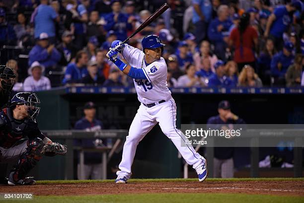 Cheslor Cuthbert of the Kansas City Royals bats against the Boston Red Sox during the second game of a doubleheader at Kauffman Stadium on May 18...