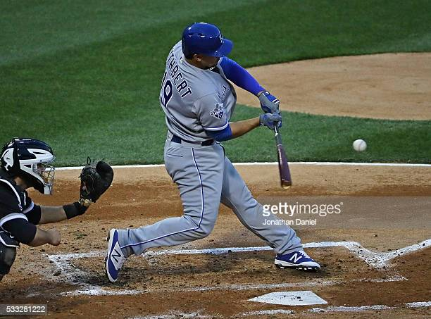 Cheslor Cuthbert of the Kansas City Royals bats against the Chicago White Sox at US Cellular Field on May 20 2016 in Chicago Illinois The Royals...