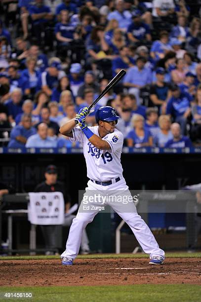 Cheslor Cuthbert of the Kansas City Royals bats against the Cleveland Indians at Kauffman Stadium on September 25 2015 in Kansas City Missouri